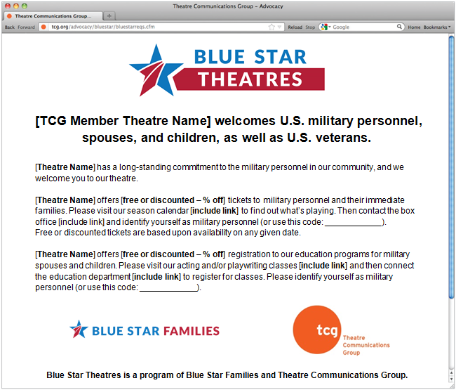 TCG: Theatre Communications Group > Advocacy > Blue Star
